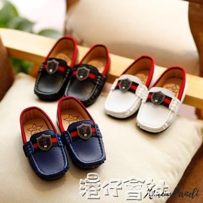 兒童皮鞋男孩鞋子小童英倫風豆豆鞋男童單鞋透氣軟底 港仔HS