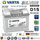 【久大電池】 德國進口 VARTA 銀合金 D15 63Ah 寶獅 標緻 PEUGEOT 207 2007~2012
