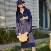 出清388 韓國風慵懶字母顯瘦過膝長袖洋裝