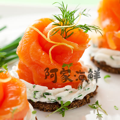 爭鮮煙燻鮭魚切片/2包一組「取自進口新鮮現流鮭魚.專業低溫煙燻法」/ (100g�10%/包)