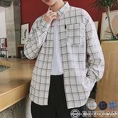 長袖襯衫【Y0607】OBIYUAN 文青風寬鬆格紋長袖襯衫 共3色