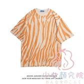 斑馬條紋短袖t恤女裝甜酷上衣服寬鬆韓版【少女顏究院】