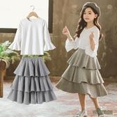 女童套裝 新款韓版中大童時尚長袖上衣公主裙洋氣兩件套春秋 EY9912[3C環球數位館]