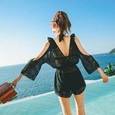 泳裝泳衣繞頸比基尼正韓泳衣女泳裝保守遮肚顯瘦性感小香風蕾絲泳裝時尚溫泉三件式泳裝