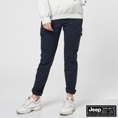 【JEEP】女裝修身口袋休閒長褲-深藍