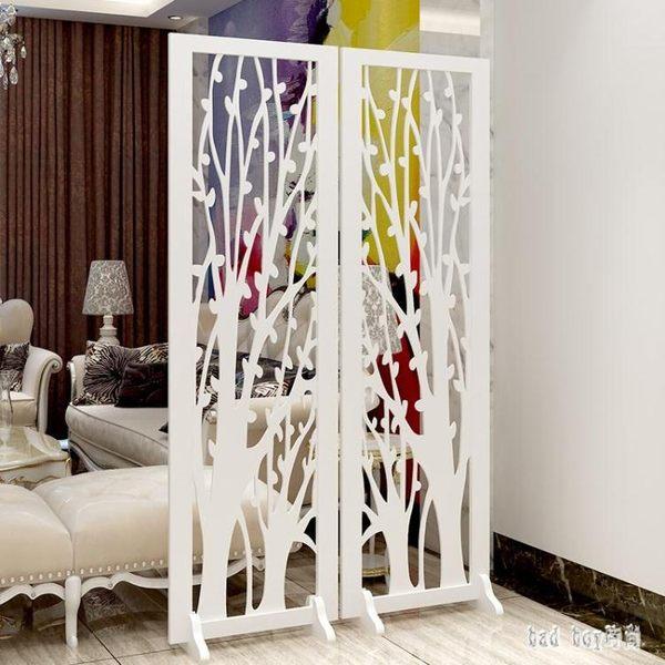 歐式屏風隔斷客廳現代簡約玄關鏤空隔斷雕花折屏白色裝飾折疊移動 QG26024『Bad boy時尚』