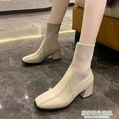 靴子女2020秋款短靴女韓版粗跟中跟絨面中筒靴女時尚英倫馬丁靴女  聖誕節免運