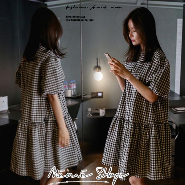 孕婦裝 MIMI別走【P52824】輕巧露西亞 棉麻格紋連身裙 孕婦洋裝