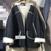 撞色包邊口袋開衫羊羔毛時尚百搭加厚短款拼色外套大衣潮YYP    傑克型男館