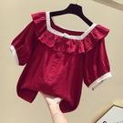 娃娃領上衣 紅色方領荷葉邊上衣女夏寬鬆蕾絲法式復古甜美娃娃領短袖洋氣小衫