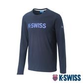 K-SWISS Cotton Logo Tee 2印花長袖T恤-男-藍