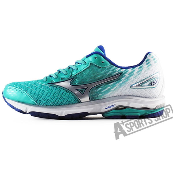 MIZUNO 女 美津濃 WAVE RIDER 19 W 慢跑鞋 湖水綠/藍/白 TIFFANY綠 路跑 J1GD160304