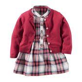 Carter's平行輸入童裝 女寶寶 薄針織外套&洋裝連身裙&內褲 紅格紋【CA121G890】