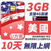 U方案 10天 無限美國 境內通話+簡訊 支援分享功能 前面3GB支援4G高速 加贈無限撥打台灣市話