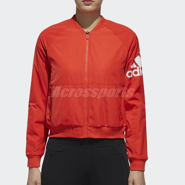 adidas 飛行外套 Bomber Jacket 橘紅 短版 夾克 女款 【PUMP306】 DT2401