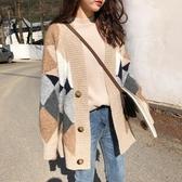 針織外套 秋冬裝新款韓版格子寬松中長款開衫針織慵懶風加厚毛衣外套女