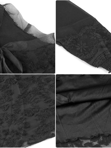洋裝 2020春秋新款正韓蝴蝶結繫帶冷淡風裙子中長款網紗長袖雪紡洋裝 店慶降價