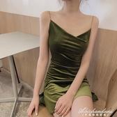 新款復古系帶絲絨吊帶洋裝收腰裙子V領性感A字短裙女裝 黛尼時尚精品