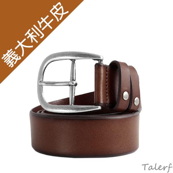 TALERF單層斜邊休閒皮帶(咖啡/共3色)-情侶-女 /真皮 牛皮/台灣製造