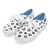 Disney 狂熱愛戀 滿版圖樣綁帶休閒鞋-白