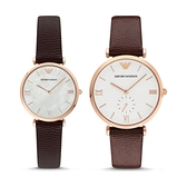 【Emporio Armani】美式經典簡約時尚情侶腕錶套組對錶-玫金棕/AR9042/台灣總代理公司貨享兩年保固