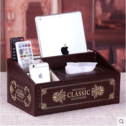 歐式多功能紙巾盒創意家用客廳桌面遙控器收納盒