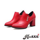 美腿效果復古設計美鑽飾粗跟踝靴 紅 *KissXXX*