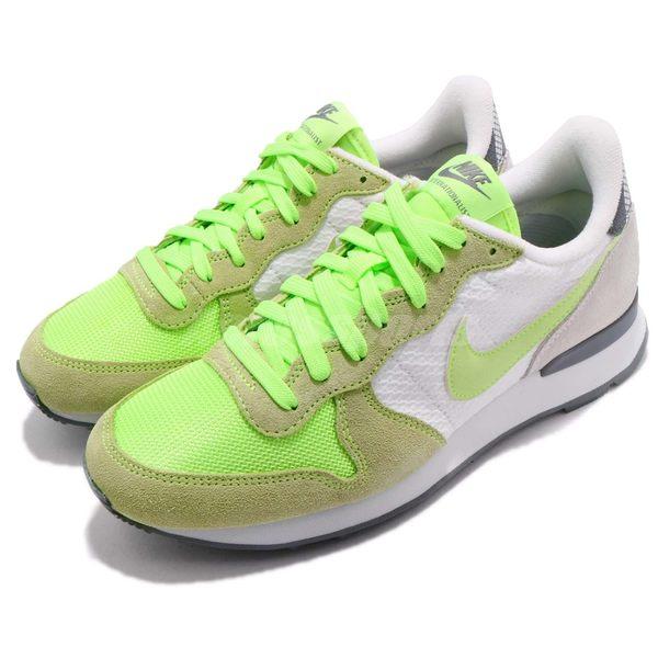 【五折特賣】Nike 復古慢跑鞋 Wmns Internationalist Print 淺綠 白 灰 休閒鞋 女鞋【PUMP306】 807412-100