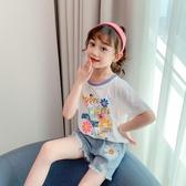 女童短袖T恤夏裝2020新款洋氣寬鬆中大兒童印花時尚韓版打底衫潮