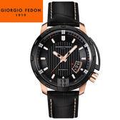 【萬年鐘錶】Giorgio Fedon 1919義大利工藝  TIMELESS V 黑x玫瑰金x黑皮帶  GFBP003
