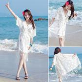 比基尼罩衫外套温泉游泳衣外搭蕾丝镂空海边沙滩度假裙防晒开衫女『艾麗花園』