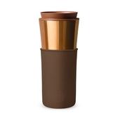 美國HYDY兩用隨行保溫杯-古銅金杯x摩卡-450ml