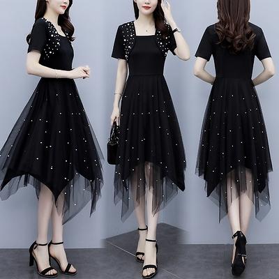 洋裝 連身裙中大尺碼L-5XL大碼假兩件收腰顯瘦淑女不規則網紗釘珠時尚連身裙R030-A.胖丫