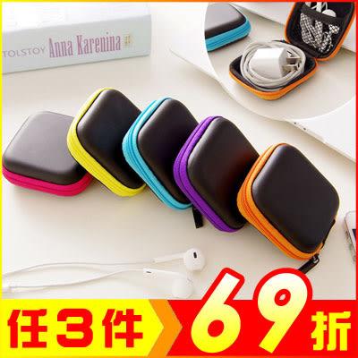 迷你手機充電器數據線收納包 耳機整理盒(顏色隨機)2入【AE08214-2】JC雜貨