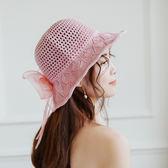 春夏韓版綢緞大蝴蝶結棉麻遮陽帽子女夏沙灘大檐帽可摺疊太陽帽 溫暖享家