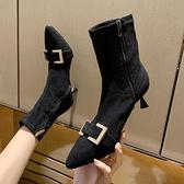 尖頭高跟鞋女秋冬細跟高跟靴子女彈力靴短靴女春秋單靴小跟短靴子 貝芙莉