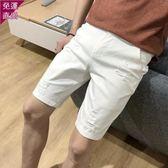 五分短褲 白色牛仔短褲男彈力刷破五分褲青少年正韓修身潮大尺碼黑色馬褲  快速出貨