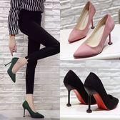 新款韓版10cm黑色百搭絨面高跟鞋貓跟細跟女鞋職業鞋女春單鞋    韓小姐的衣櫥