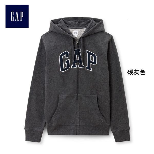 Gap男裝 Logo連帽舒適長袖休閒外套 443921-碳灰色