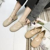 復古圓頭平底娃娃鞋女春夏新款一字扣帶淺口平跟單鞋學院風大頭鞋 嬌糖小屋