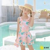 兒童泳衣 連體童裙式寶寶可愛游泳衣孩學生小公主泳裝中大童
