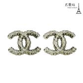 【巴黎站二手名牌專賣店】*現貨*CHANEL 香奈兒 真品* 經典雙C LOGO銀色珊瑚石簍空造型穿式耳環