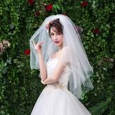新娘頭紗 新娘婚紗頭紗短款結婚白色頭飾網紅攝影拍照道具超仙簡約頭紗 莎拉嘿呦
