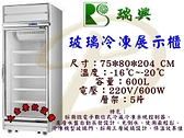 瑞興單門全凍展示冰箱/600L單門玻璃冰箱/展示櫃/營業用冰箱/冷凍櫃/1門展全凍冰箱/大金