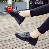 皮鞋女韓版平底跟黑色皮鞋女女工作職業正裝繫帶休閒學生單鞋女鞋  韓流時裳