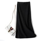 針織長裙Z7Y7側開叉針織半身裙高腰包臀裙女2020秋季新款毛線裙半身長裙 新年禮物