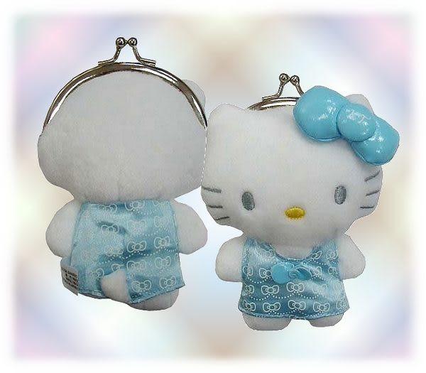 【波克貓哈日網】★凱蒂貓hello kitty貓★中國風小錢包《淺藍色》