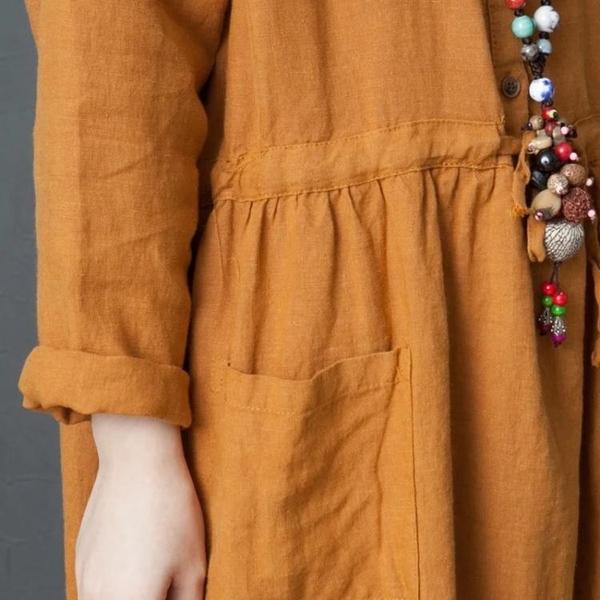 洋裝 連身裙 文藝范女裝大碼遮肚洋裝春季減齡洋氣韓版寬鬆時尚亞麻收腰襯衫