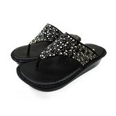 MICHELLE PARK 閃耀印象 水鑽厚底氣墊夾趾涼鞋-黑色