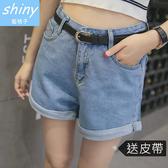 【V1146】shiny藍格子-牛仔印象.百搭顯瘦高腰卷邊闊腿牛仔短褲「送皮帶」